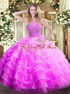 Modern Halter Top Sleeveless Ball Gown Prom Dress Floor Length Ruffled Layers Lilac Organza