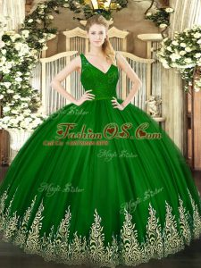Green Backless V-neck Beading and Lace and Appliques Quinceanera Gowns Tulle Sleeveless