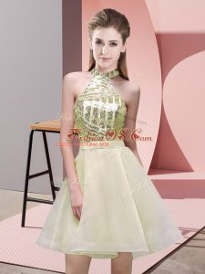 Clearance Chiffon Halter Top Sleeveless Backless Sequins Bridesmaid Dress in Light Yellow