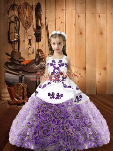 Multi-color Sleeveless Fabric With Rolling Flowers Lace Up Little Girls Pageant Dress for Sweet 16 and Quinceanera