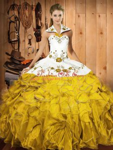 Ideal Floor Length Gold Quinceanera Gown Satin and Organza Sleeveless Embroidery and Ruffles