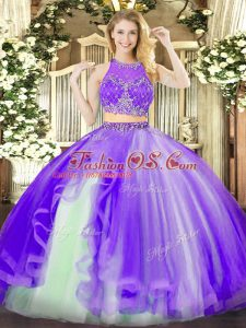 Floor Length Zipper Sweet 16 Dress Lavender for Military Ball and Sweet 16 and Quinceanera with Beading and Ruffles