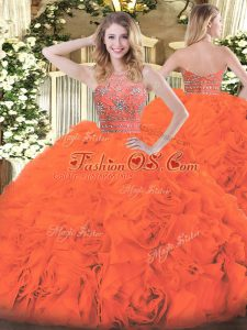 Sleeveless Tulle Floor Length Zipper Quinceanera Gowns in Orange Red with Beading and Ruffles