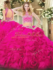 Custom Design Hot Pink Backless High-neck Beading and Ruffles Quinceanera Dresses Tulle Sleeveless