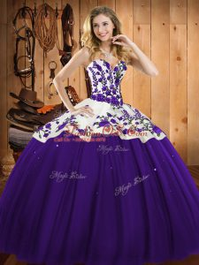 Purple Lace Up Quinceanera Dresses Embroidery Sleeveless Floor Length