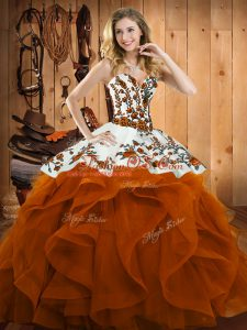 Rust Red Lace Up 15 Quinceanera Dress Embroidery and Ruffles Sleeveless Floor Length