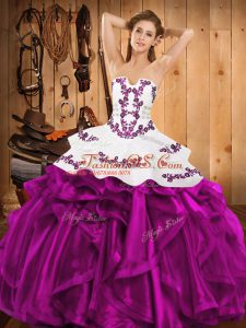 On Sale Fuchsia Ball Gowns Embroidery and Ruffles Ball Gown Prom Dress Lace Up Satin and Organza Sleeveless Floor Length