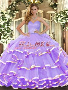 Most Popular Lavender Ball Gowns Sweetheart Sleeveless Organza Floor Length Lace Up Ruffled Layers Quinceanera Dresses