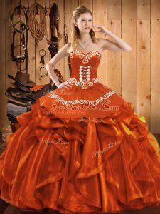 On Sale Rust Red Sleeveless Satin and Organza Lace Up Quinceanera Gowns for Military Ball and Sweet 16 and Quinceanera