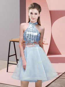 Extravagant A-line Wedding Guest Dresses Light Blue Halter Top Chiffon Sleeveless Mini Length Backless