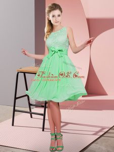 Scoop Sleeveless Quinceanera Court Dresses Knee Length Lace and Bowknot Apple Green Chiffon