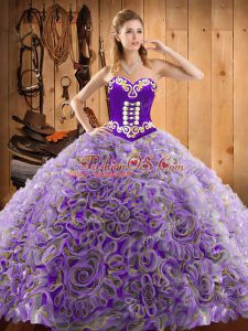 Great Embroidery Quinceanera Gowns Multi-color Lace Up Sleeveless With Train Sweep Train
