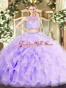 Flirting Lavender Sleeveless Floor Length Beading and Ruffles Zipper Quinceanera Dresses
