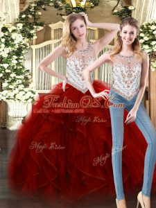 Graceful Wine Red Ball Gowns Scoop Sleeveless Tulle Floor Length Zipper Beading and Ruffles 15th Birthday Dress