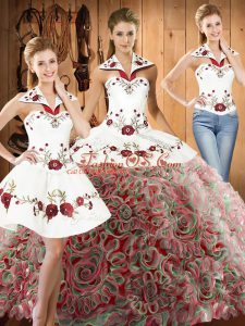 Dramatic Halter Top Sleeveless Vestidos de Quinceanera Sweep Train Embroidery Multi-color Fabric With Rolling Flowers