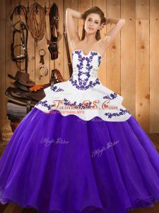 Luxury Embroidery Ball Gown Prom Dress Purple Lace Up Sleeveless Floor Length
