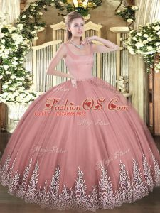 Rust Red Sleeveless Tulle Zipper Sweet 16 Quinceanera Dress for Military Ball and Sweet 16 and Quinceanera