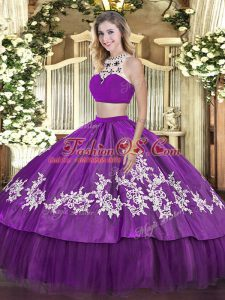 Artistic Floor Length Backless Sweet 16 Dress Purple for Military Ball and Sweet 16 and Quinceanera with Beading and Appliques and Ruffles
