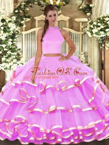 Lilac Sweet 16 Dresses Military Ball and Quinceanera with Beading and Ruffled Layers Halter Top Sleeveless Backless