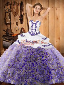 Multi-color Strapless Neckline Embroidery Quinceanera Gown Sleeveless Lace Up