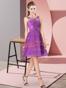 Spectacular Eggplant Purple Sleeveless Chiffon Zipper Dama Dress for Prom and Party and Wedding Party