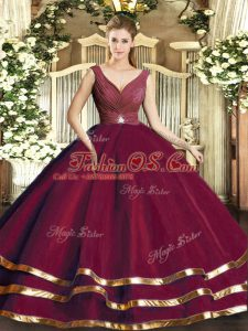 V-neck Sleeveless Tulle Quinceanera Gown Beading and Ruffled Layers and Ruching Backless