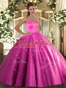 Exquisite Hot Pink Tulle Lace Up Sweetheart Sleeveless Floor Length Quince Ball Gowns Beading and Appliques