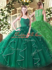 Ball Gowns Sweet 16 Dress Dark Green Straps Organza Sleeveless Floor Length Zipper