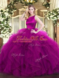 Suitable Fuchsia Clasp Handle Scoop Ruffles Quinceanera Dress Organza Sleeveless