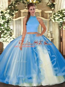 Halter Top Sleeveless Tulle Quinceanera Gowns Beading and Ruffles Backless