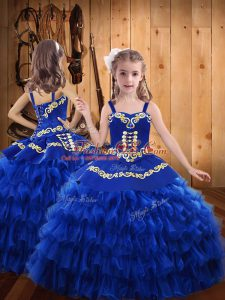 Glorious Royal Blue Lace Up Straps Embroidery and Ruffled Layers Little Girls Pageant Gowns Chiffon Sleeveless