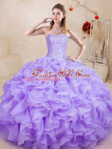 Dynamic Lavender Ball Gowns Beading and Ruffles Quinceanera Dresses Lace Up Organza Sleeveless Floor Length