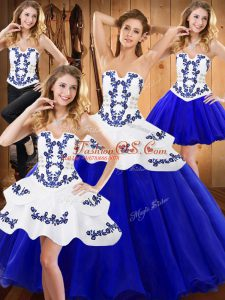 Dynamic Royal Blue Sleeveless Floor Length Embroidery Lace Up Quinceanera Gowns