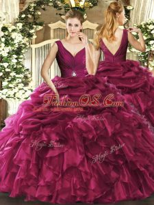 Free and Easy V-neck Sleeveless Backless Sweet 16 Quinceanera Dress Burgundy Organza