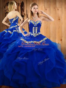 Dramatic Blue Sweetheart Lace Up Embroidery and Ruffles Sweet 16 Dresses Sleeveless