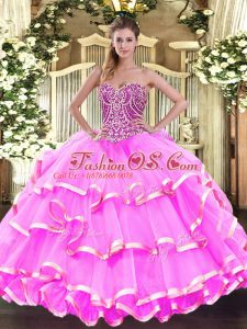 Elegant Sleeveless Floor Length Beading and Ruffled Layers Lace Up Sweet 16 Quinceanera Dress with Rose Pink