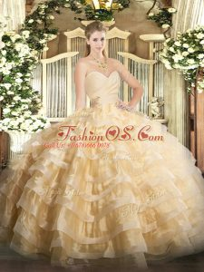 Ball Gowns Sweet 16 Quinceanera Dress Champagne Sweetheart Organza Sleeveless Floor Length Lace Up