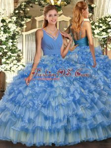 Adorable Baby Blue Backless V-neck Ruffled Layers Quinceanera Gown Organza Sleeveless