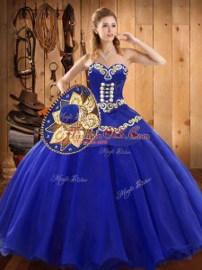 Flare Floor Length Lace Up Quinceanera Dresses Blue for Military Ball and Sweet 16 and Quinceanera with Ruffles