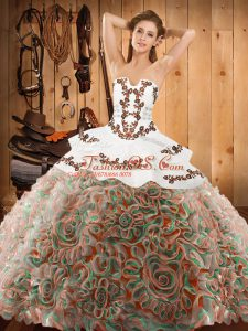 Satin and Fabric With Rolling Flowers Sleeveless With Train Quinceanera Dress Sweep Train and Embroidery