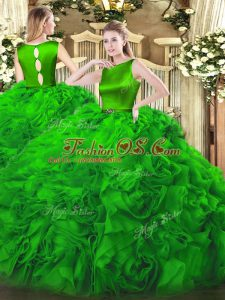Belt Quinceanera Dresses Green Clasp Handle Sleeveless Floor Length