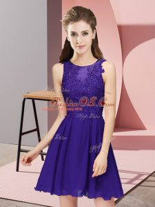 Comfortable Mini Length Purple Quinceanera Court Dresses Scoop Sleeveless Zipper