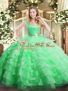 Apple Green Organza Zipper V-neck Sleeveless Floor Length 15 Quinceanera Dress Ruffled Layers