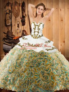 Multi-color Lace Up Strapless Embroidery Quinceanera Gowns Satin and Fabric With Rolling Flowers Sleeveless Sweep Train