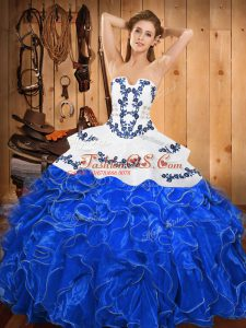 Blue And White Sleeveless Floor Length Embroidery and Ruffles Lace Up Sweet 16 Dress