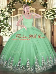 Top Selling Appliques Quince Ball Gowns Apple Green Zipper Sleeveless Floor Length