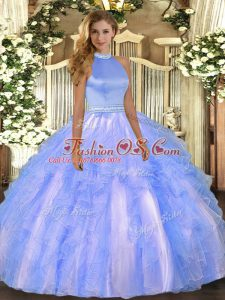 Perfect Ball Gowns Sweet 16 Dress Baby Blue Halter Top Organza Sleeveless Floor Length Backless