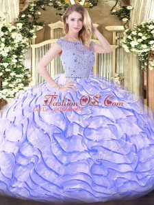 Comfortable Ball Gowns Sleeveless Lavender Sweet 16 Dresses Sweep Train Zipper