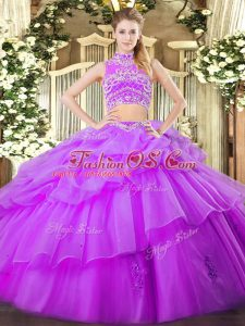 Floor Length Eggplant Purple Sweet 16 Quinceanera Dress Tulle Sleeveless Beading and Ruffles and Pick Ups