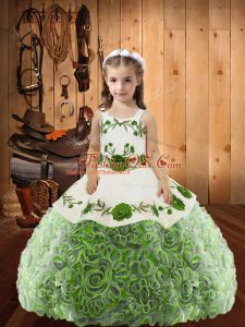 Adorable Multi-color Fabric With Rolling Flowers Lace Up Pageant Gowns Sleeveless Floor Length Embroidery and Ruffles